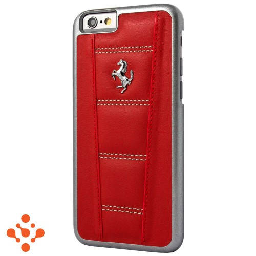 Red Leather Hard Case Silver Horse